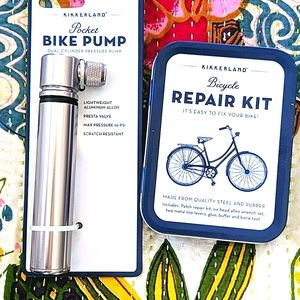 Bicycle mini pump and repair kit by Kikkerland